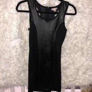 Leather black dress